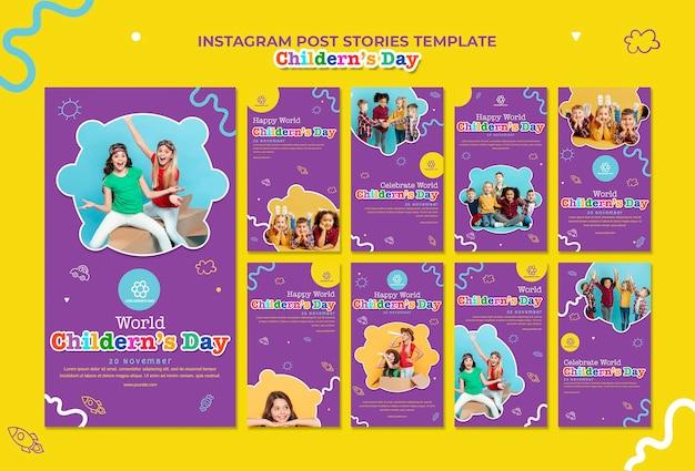 Modelo de histórias do instagram para o dia das crianças Psd Premium