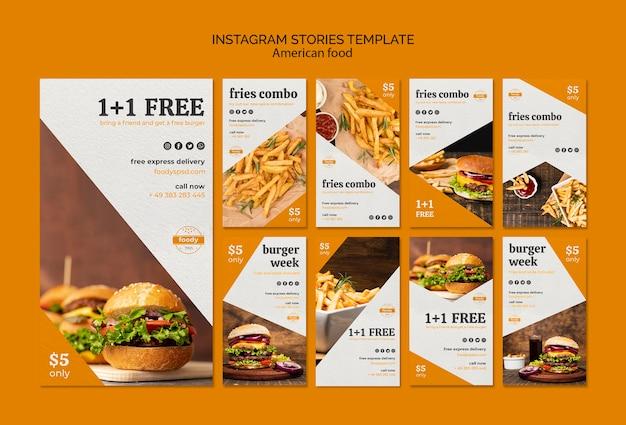 Modelo de histórias do instagram suculento hambúrguer semana Psd grátis
