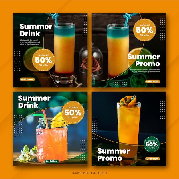 Modelo de horário de verão do pacote de postagem do instagram Psd Premium
