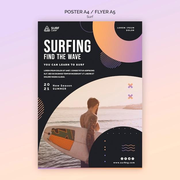 Modelo de impressão de aulas de surf Psd grátis