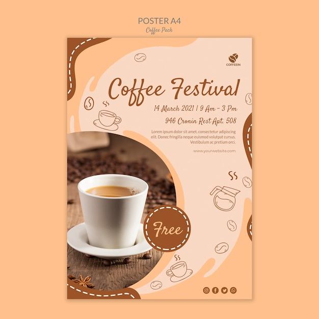 Modelo de impressão de cartaz festival de café Psd grátis