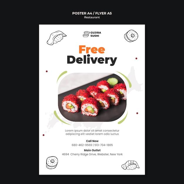 Modelo de impressão de pôster com entrega gratuita de restaurante de sushi Psd grátis