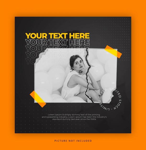 Modelo de instagrama de estilo de papel com efeito de texto Psd Premium
