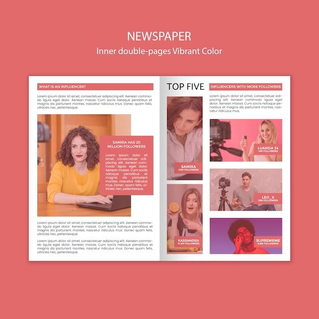 Modelo de jornal interno de páginas duplas com cores vibrantes Psd grátis