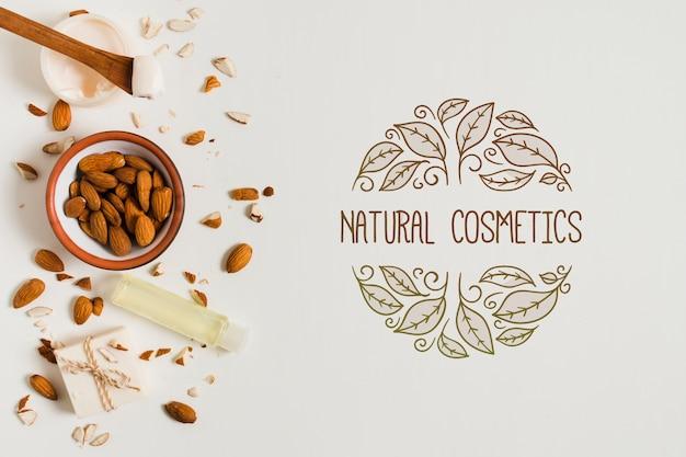Modelo de logotipo plana cosméticos naturais leigos Psd grátis