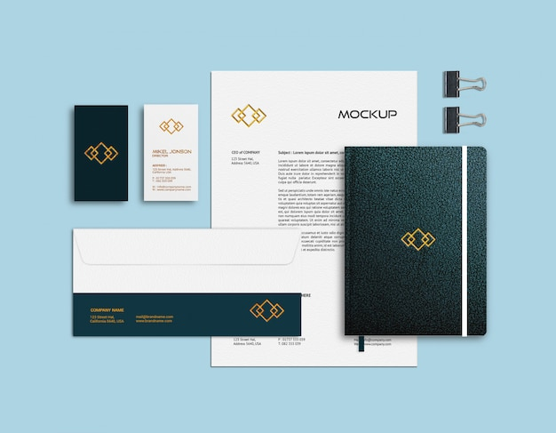Modelo de maquete de cartão de visita, papel timbrado e caderno Psd Premium