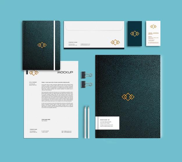 Modelo de maquete de cartão de visita, papel timbrado, pasta e caderno Psd Premium