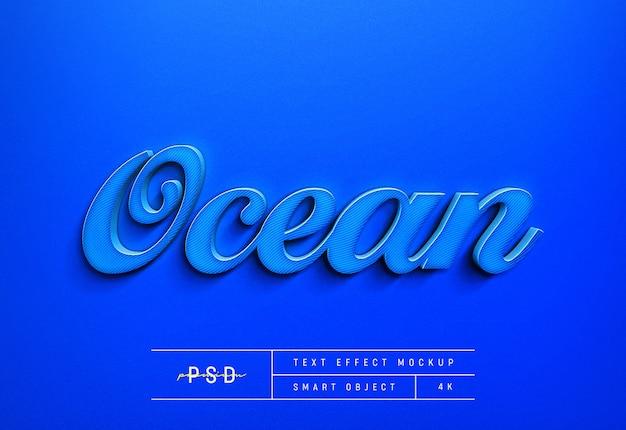 Modelo de maquete de efeito de estilo de texto azul oceano personalizável Psd Premium