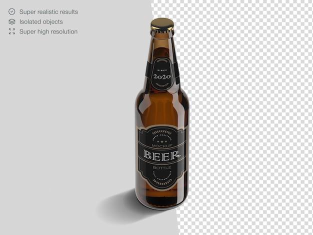 Modelo de maquete de garrafa de cerveja de alto ângulo realista Psd Premium