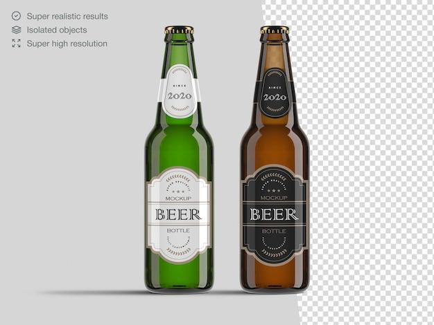 Modelo de maquete de garrafa de cerveja de vidro marrom e verde vista frontal realista Psd Premium