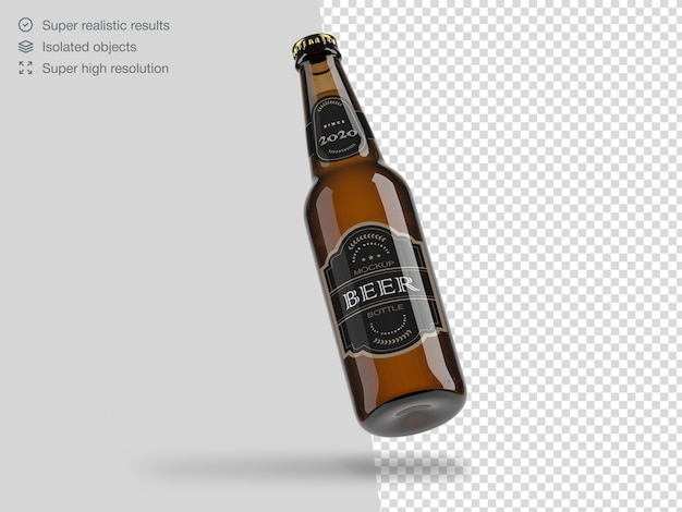 Modelo de maquete de garrafa de cerveja flutuante realista Psd Premium