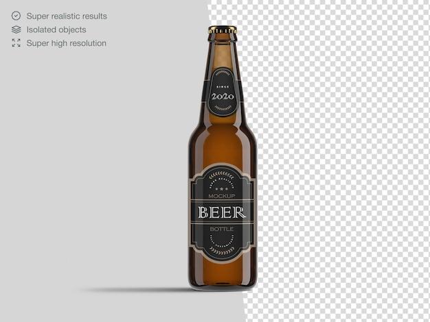 Modelo de maquete de garrafa de cerveja vista frontal realista Psd Premium