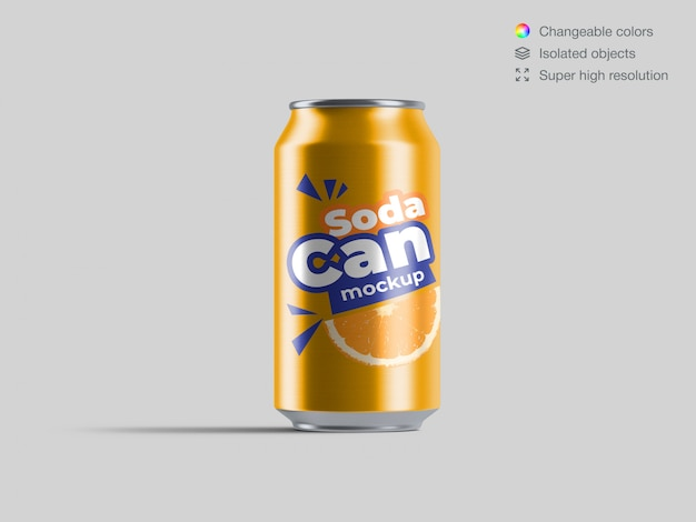 Modelo de maquete de lata de refrigerante de alumínio vista realista Psd Premium