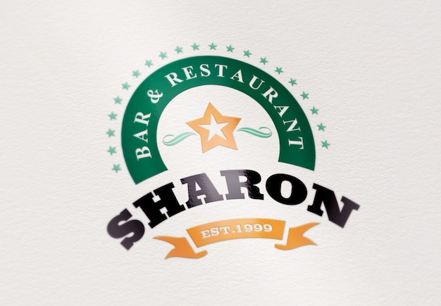 Modelo de maquete de logotipo ou texto. adesivo em papel Psd Premium
