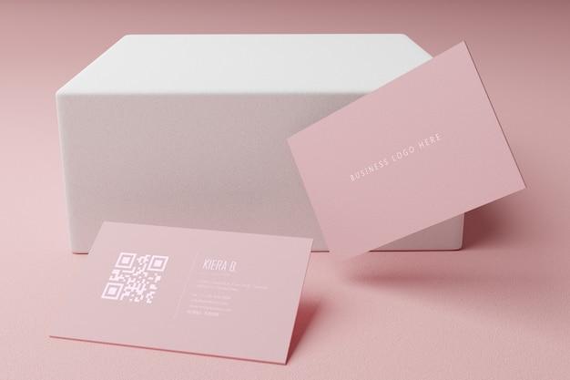 Modelo de maquete de papel cartão-de-rosa pastel com capa de espaço em branco Psd Premium