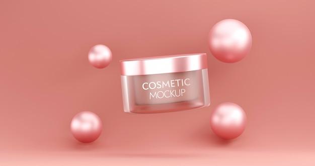 Modelo de maquete de recipiente de frasco cosmético em fundo rosa. Psd Premium