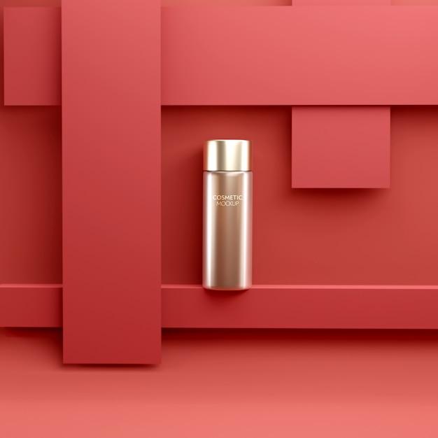 Modelo de maquete de recipiente de tratamento facial cosmético de luxo em fundo vermelho Psd Premium