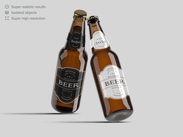 Modelo de maquete de rótulo de garrafa de cerveja realista Psd Premium