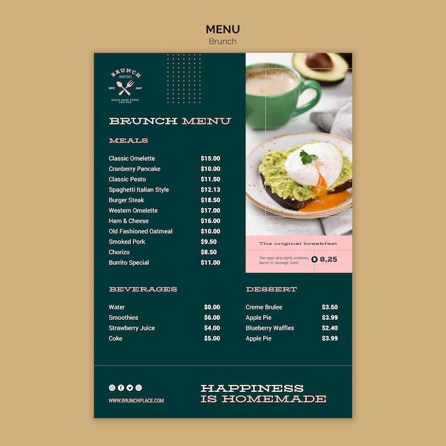 Modelo de menu com brunch Psd grátis