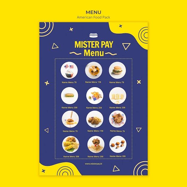 Modelo de menu com comida americana Psd grátis