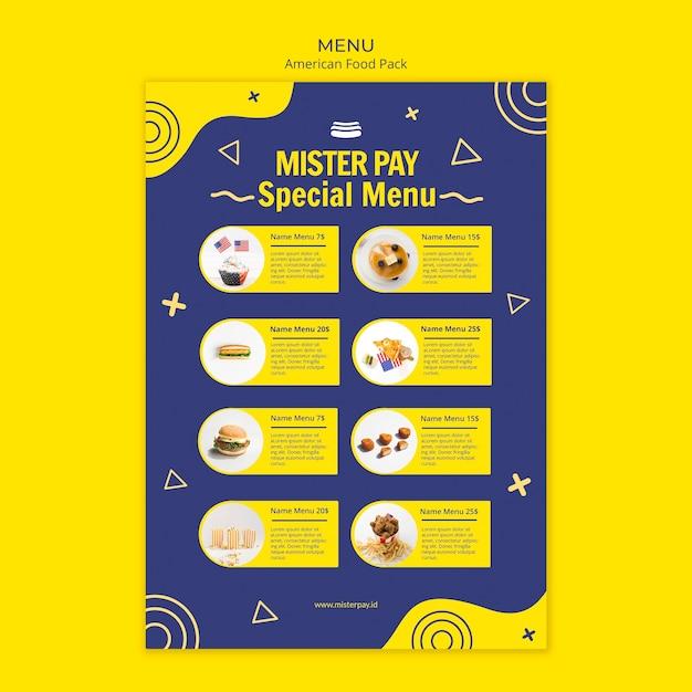 Modelo de menu com o conceito de comida americana Psd grátis