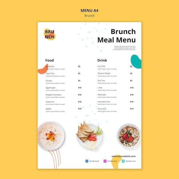 Modelo de menu com tema de brunch Psd grátis