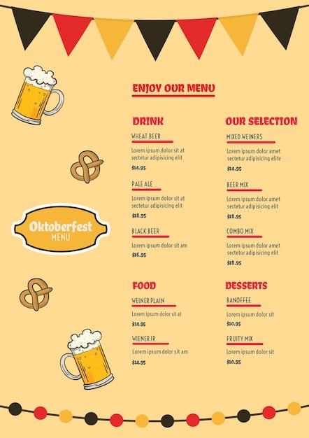 Modelo de menu da oktoberfest Psd grátis