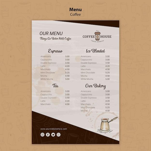 Modelo de menu de cafeteria Psd grátis