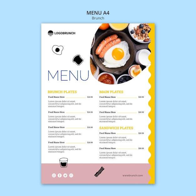 Modelo de menu de comida de brunch de domingo Psd grátis