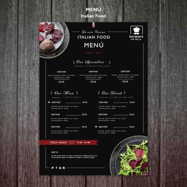 Modelo de menu de comida italiana Psd grátis