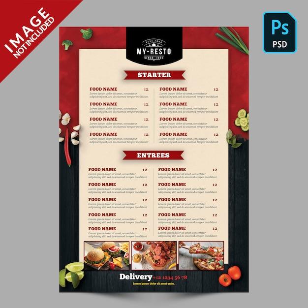 Modelo de menu de comida Psd Premium