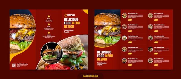 Modelo de menu de restaurante com três dobras Psd Premium
