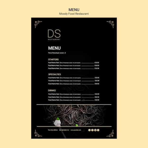 Modelo de menu de restaurante de comida temperamental com foto Psd grátis