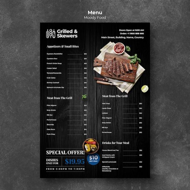 Modelo de menu de restaurante grelhado e espetos Psd grátis