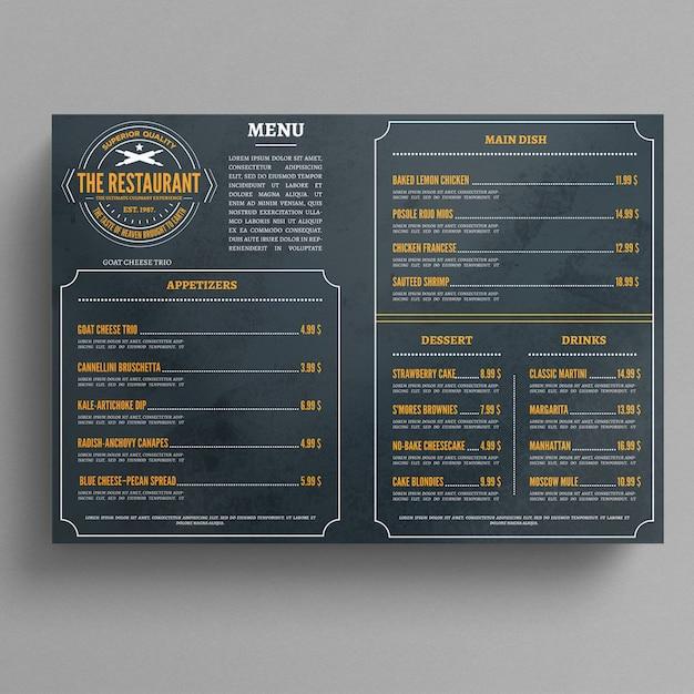 Modelo de menu de restaurante Psd Premium