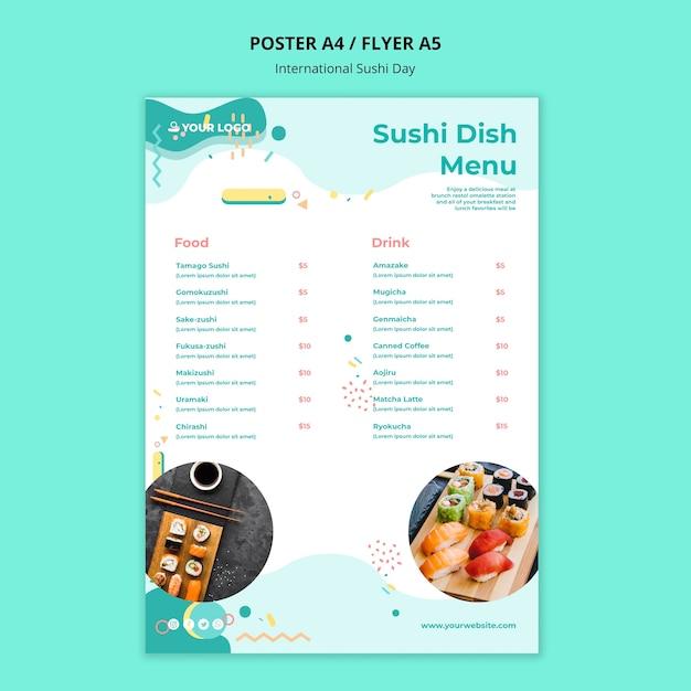 Modelo de menu internacional de prato de sushi Psd grátis