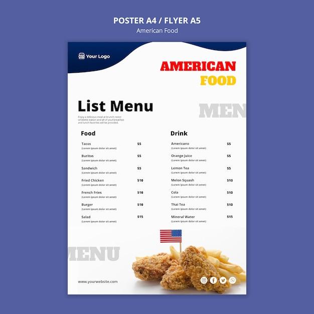 Modelo de menu para restaurante de comida americana Psd grátis