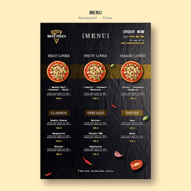 Modelo de menu para restaurante de pizza Psd Premium