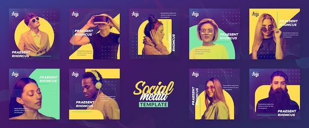 Modelo de menu social com pessoas e dispositivos digitais Psd grátis