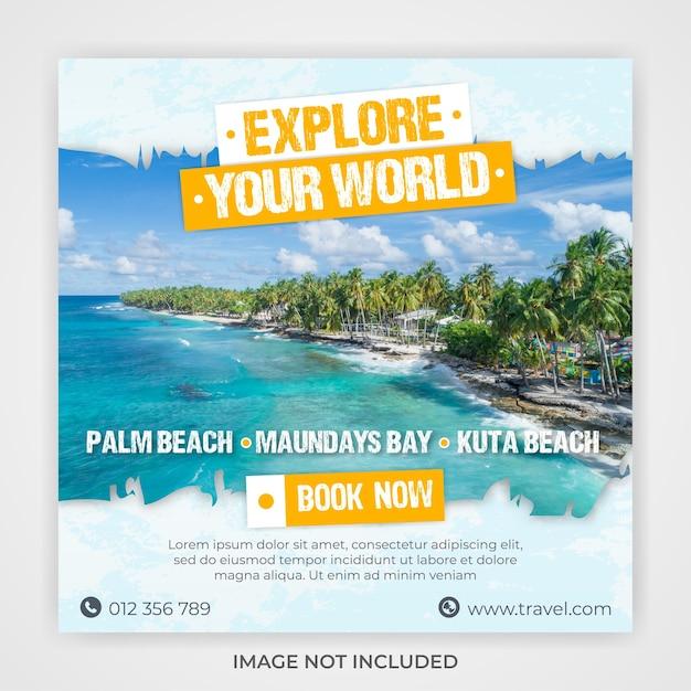 Modelo de mídia social de banner quadrado de férias para viagens Psd Premium