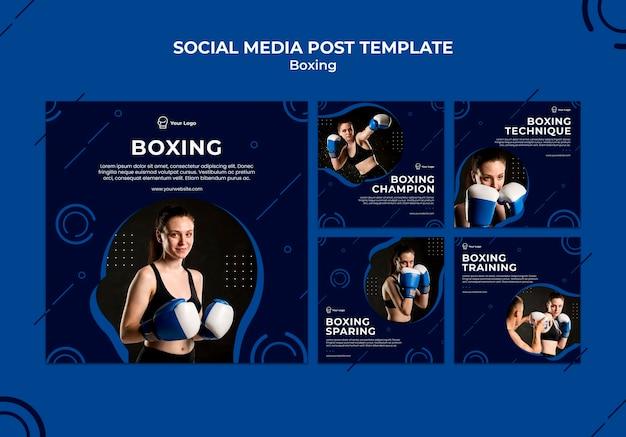 Modelo de mídia social de box treino esporte Psd Premium