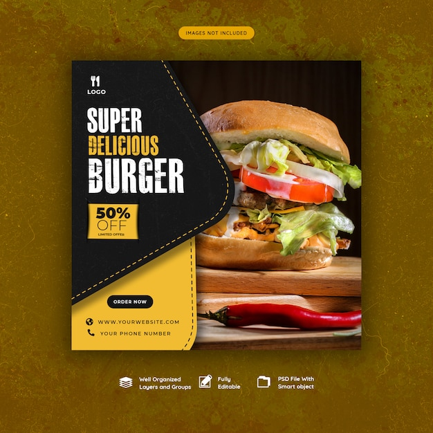 Modelo de mídia social de hambúrguer de fast-food Psd Premium
