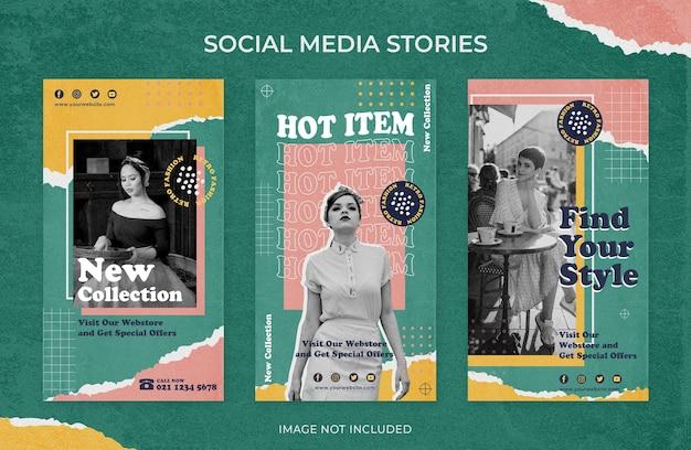 Modelo de mídia social para venda de moda retrô vintage no instagram Psd Premium