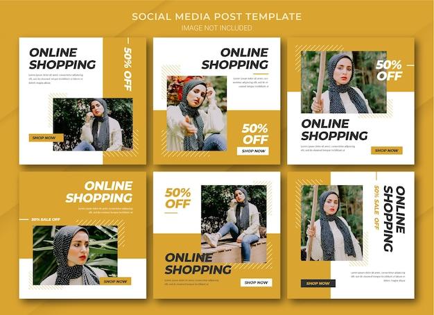 Modelo de pacote de post do instagram para compras online de moda Psd Premium