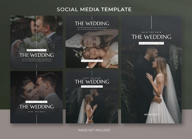 Modelo de pacote de postagem de mídia social de casamento Psd Premium