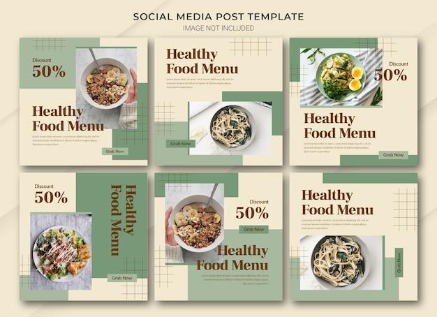 Modelo de pacote de postagem do instagram para compras online de alimentos Psd Premium