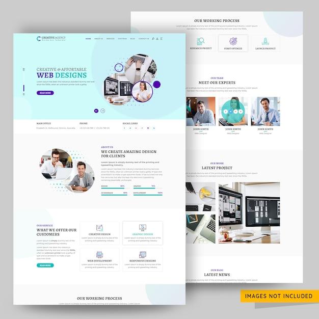 Modelo de página de destino da agência de design corporativo e criativo Psd Premium