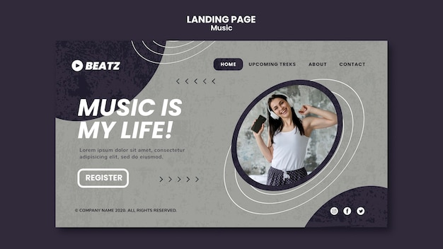 Modelo de página de destino da música Psd grátis