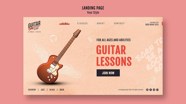 Modelo de página de destino de aulas de guitarra Psd grátis