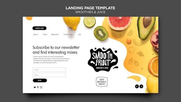 Modelo de página de destino de barra de smoothie Psd Premium